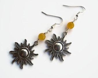 Yellow Sun Earrings, Jade Sunshine Earrings, Fiery Earrings, Boho Earrings, Nature Earrings, Sunburst Earrings, Antiqued Silver