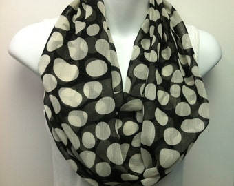 Black and cream polka dot georgette chiffon infinity scarf