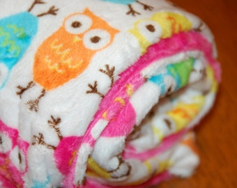 "Big Minky Blanket - Carnival Owl Minky - Double Minky - Big 48"" x 59"" -You choose minky solid color for back"