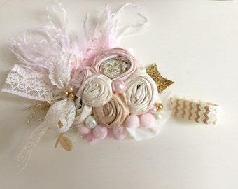 Baby Girl Headband-Baby Headband-Newborn headband-Pink Gold Headband-Flower Girl Headband-Dollcake Headband-Girls 1st Birthday headband
