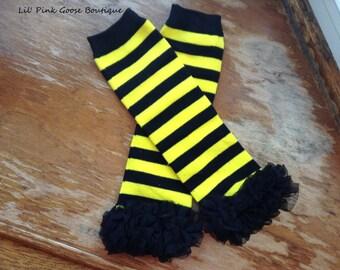 BABY BEE Leg Warmers, Bee Costume, Bumblebee, Halloween Leg Warmers, Leggings, Baby Leg Warmers, Tutu Leg Warmers, Photo Prop, Halloween