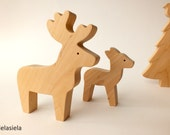 Reindeer, fawn and christmas tree - Wooden toy - Christmas decoration - Wooden christmas home decor