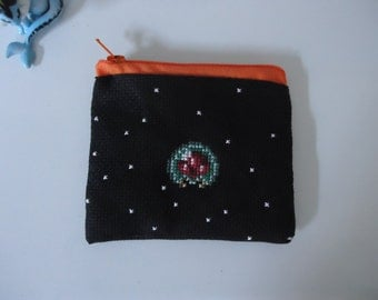 Metroid cross stitched purse