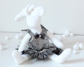 Stuffed Animal Bunny Rabbit Doll with Holiday Dress - Dressed up Soft Plushie Bunny Doll 12 inch Elegant Party Dress Shiny Silver Ruffled