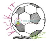 Kick It Soccer Ball Sketch Machine Embroidery Design