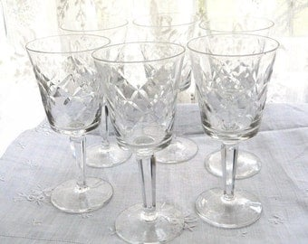 Scarce Danish Modern Glass Set of 6 Vintage 1960s Lenox Crystal Stemware Wine Water Goblets - Unusual Arts and Crafts Linear Manor pattern