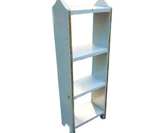 Antique Farmhouse Arched Stand Cottage Chic Mission Monterey Vintage 1920s Painted Gray Chimney Open Bookcase Shelves