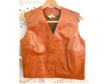 Vintage 1960s Mid Century Danish Modern Mod Vinyl Vest Beeline Fashions Retro The Beatles Vest Steampunk Costume Clothing Prop Industrial