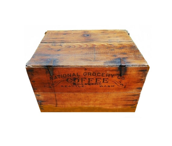 Advertising Seattle COFFEE Crate Wood Shipping Huge Box Rare 19th C Antique Trunk Vintage 1880s Country General Store Western Americana