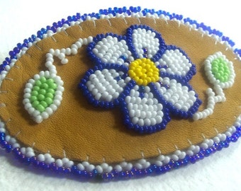 Beaded Barrette Blue and White Flower - Ojibway, Woodland Beadwork - Authentic Native American