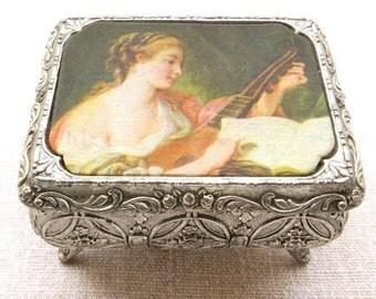 Vintage Orig. french shabby chic romantic jewelry box silver tone trinket box musician lady on silk