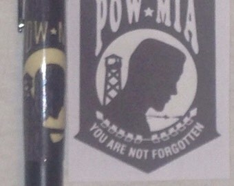 30 Caliber Black Enamel Bolt Action Pen with a POW MIA Inlay Barrel, Militar Pen, Bullet Pen
