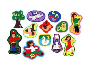 SALE - Advent Calendar - 12 Day of Christmas - Felt Story - Flannel Board Christmas Toy - Felt Christmas Tree Ornaments