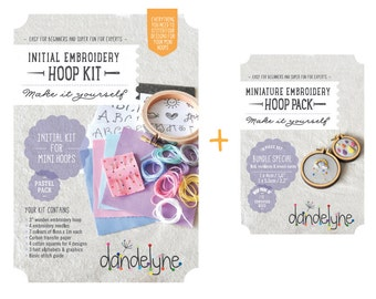 Pastel INITIAL Mini Embroidery Kit and mini hoops (2 sizes) - bundle SPECIAL - DIY - hand embroidery kit and 2 miniature embroidery frames