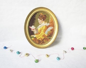 Vintage french embroidery cross stitch in a frame, La liseuse, Tapisserie, Antique home decor, 1950