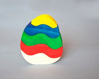 Colorful Wooden Puzzle Easter egg. Wooden ecofriendly handmade toys for children. Ready to ship.