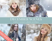 "Snow photo overlays ""December Scenes"",  falling snow photo overlays, winter photo overlays for Photoshop"