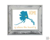 Alaska State Art Print - Custom 8x10 Illustration Home Decor Print - Home Is Where The Heart Is