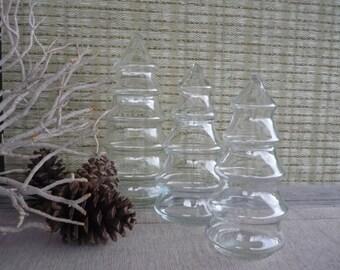 Set of 3 Vintage Apothecary Jars, Glass Display Jars, Cottage Decor, Christmas Decor