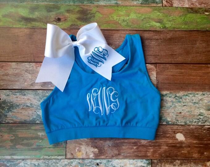 Monogram Sports Bra, Monogram Cheer bow Set, Girls Sports Bra, Ladies Sports Bra, Cheer Sports Bra, Custom Sports Bra, Preppy Sports Bra