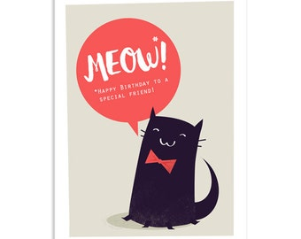 Meow! Special Friend Greetings Card - best friend card - card for cat lovers - black cat card - cat greeting card