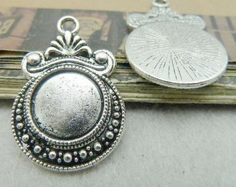 20PCS antique silver 12mm pendant trays round filigree cabochon mountings- XC6203