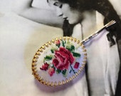 Decorative Pink Embroidered Austrian Rose Hairpin