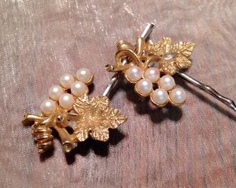 Decorative Hair Pins Jewelry Vintage Bridal Pearl Grape Leaf Pearl Hairpins Bobby Pins Vineyard Wedding