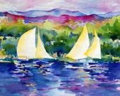 Sailing on Lake Champlain-Watercolor Print