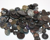 Vintage Lot Of 188 Black and Black Tone vintage, Antique Buttons, Marble, Gray, and Beige, Various Shapes and Sizes,