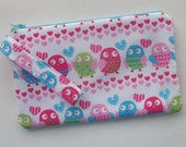 Owls Print Owls Fabric Wristlet Purse Cell Phone Wristlet Bags and Purses Wristlet Purses Fabric Purses Clutch Purse