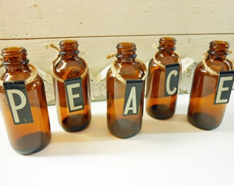 Small Vintage Metal Sign Letters PEACE