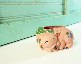 Vintage Pink Painted Pottery Pig Planter
