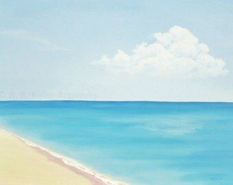 Original Ocean Painting of Summer Beach with Blue Sky, Relaxing Beach Art Acrylic Painting 18 X 24