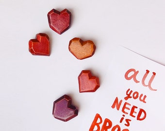 Wooden Heart Brooch, tiny heart jewelry, Valentine's Day gift, love, red and purple, faceted geometric