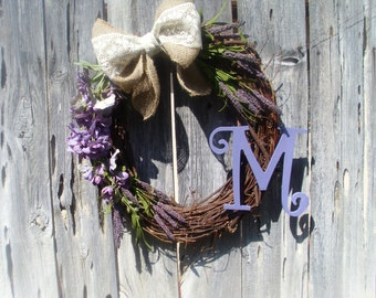 Purple and bulap bow Initial Grapevine Spring Summer Wreath