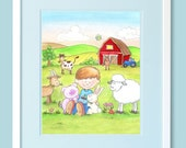 8x10 Print of Boy with Animals at the Farm