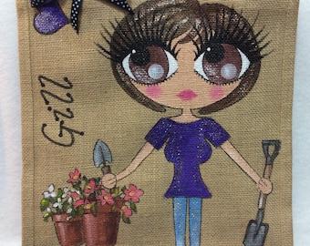Handpainted Personalised Gardeners Jute Handbag Gift Bag Hen Party Celebrity Style