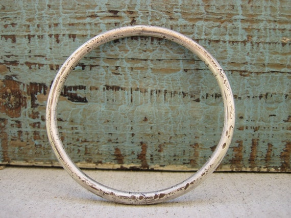Chunky Silver bangle/ MAde To Order /Organic, distressed, wabi sabi, solid sterling silver bracelet, medium size