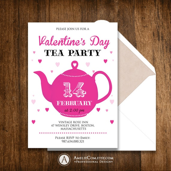 Printable Valentine Tea Party Invitation Invite Teapot