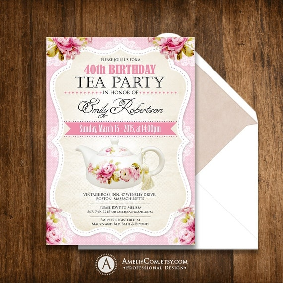 tea party birthday invitation printable adult girl invite  etsy, Birthday invitations