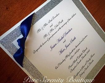 Glitter sparkle Invitations, wedding invitation, sweet 16 invitation, quinceanera invitations, personalized custom invitations