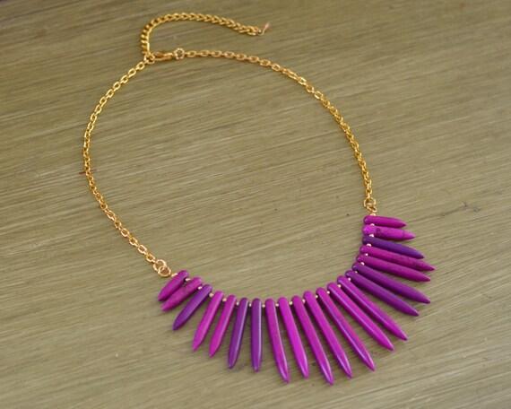 Plum Purple Turquoise Spike Necklace - Purple Statement Necklace - Purple Beaded Necklace - Purple and Gold Silver - Plum Necklace