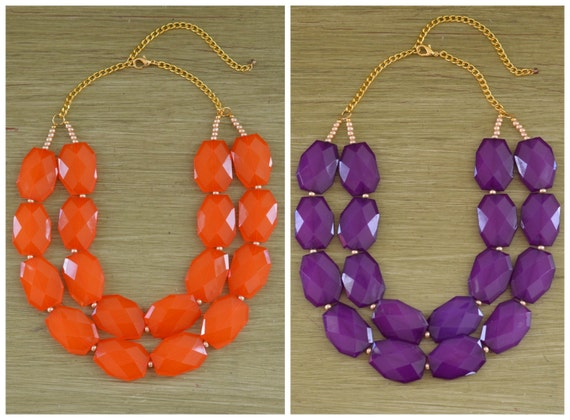 Clemson Necklace - Clemson Jewelry - Orange Statement Necklace - Purple Statement Necklace - Clemson Graduation Gift - Bib Necklace