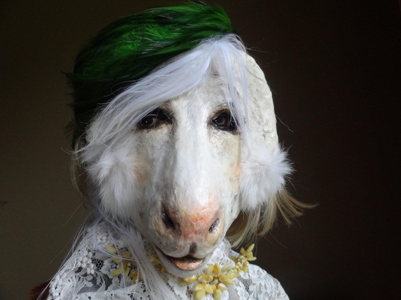 Animal head mask paper mache lion mask lion costume