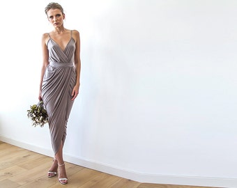 Wrap maxi taupe bridesmaids gown, Maxi straps taupe dress 1033