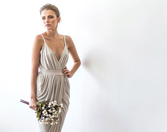 Champagne maxi wrap sexy dress , Bridesmaids wrap maxi gown 1033