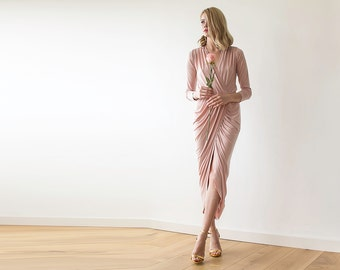 Maxi dress ,wrap dress , pink dress , pink gown , long sleeves dress ,1034