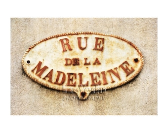French Street Sign Photo, Travel Photography, Urban City, Beige, Rust, Shabby Chic Home Decor