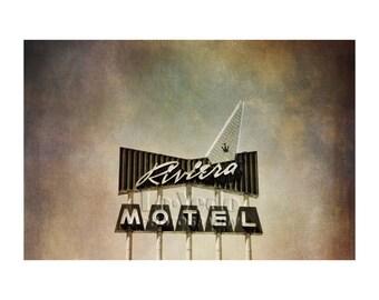 Vintage Neon Sign Photo, Riviera Motel Sign, Retro Decor, Road Trip, Colfax, Denver, Mid-Century Modern